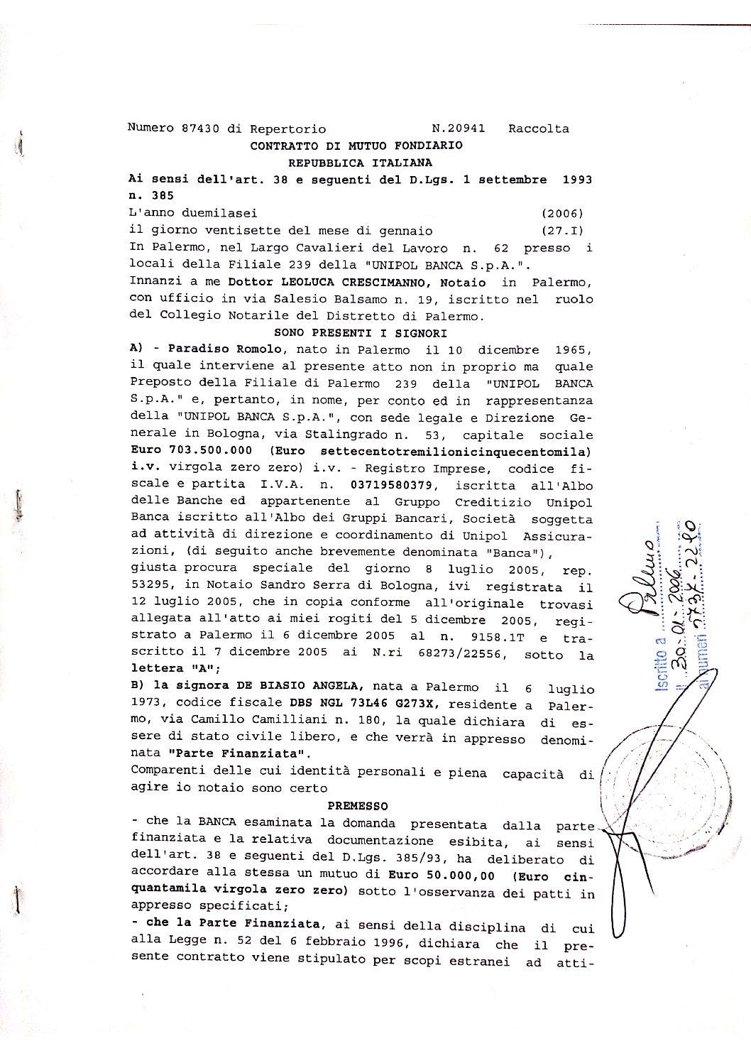 contratto mutuo_via Oreto _de Biasi